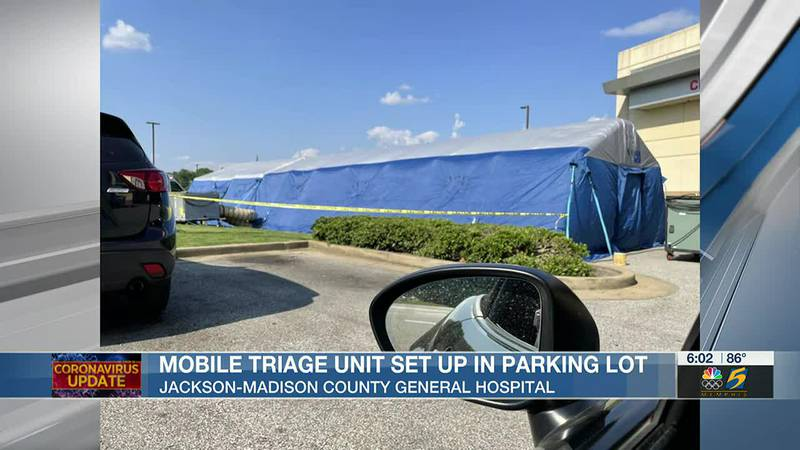 Mobile triage unit set up in parking lot of Jackson-Madison County General Hospital