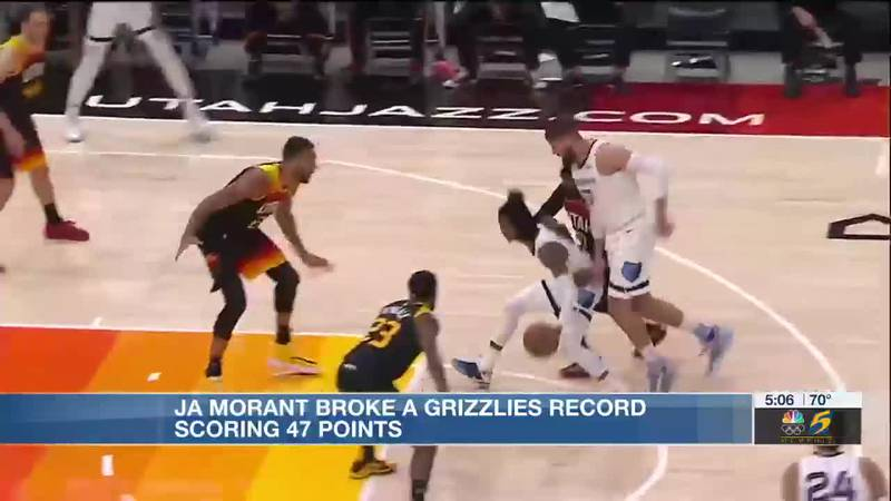 Ja Morant breaks a Grizzlies record scoring 47 points in playoff game 2