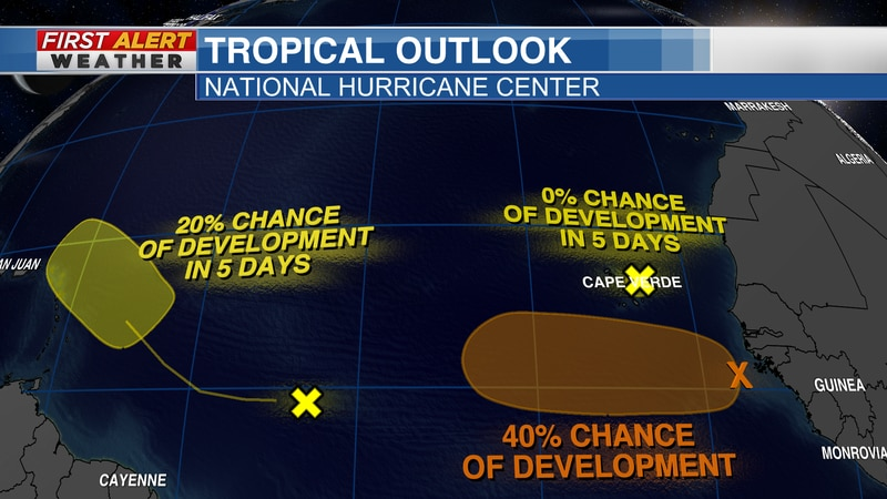 Tropical Outlook from the National Hurricane Center as of 1:20 PM CT Wednesday, Aug 4, 2021