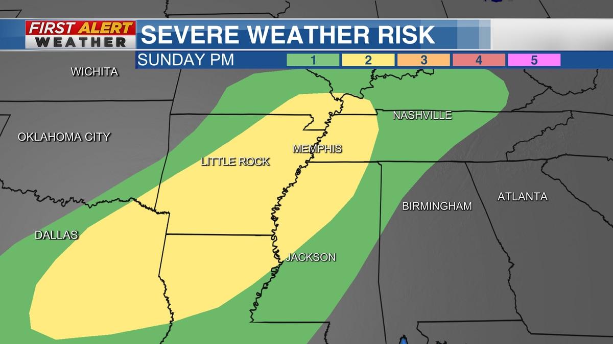 Severe Weather Risk Area Sunday