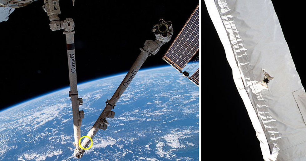 These images from NASA and the Canadian Space Agency show the location of a space debris strike...