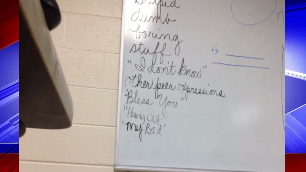 The teacher allegedly has a list of words that students may not use in the classroom. (Photo...