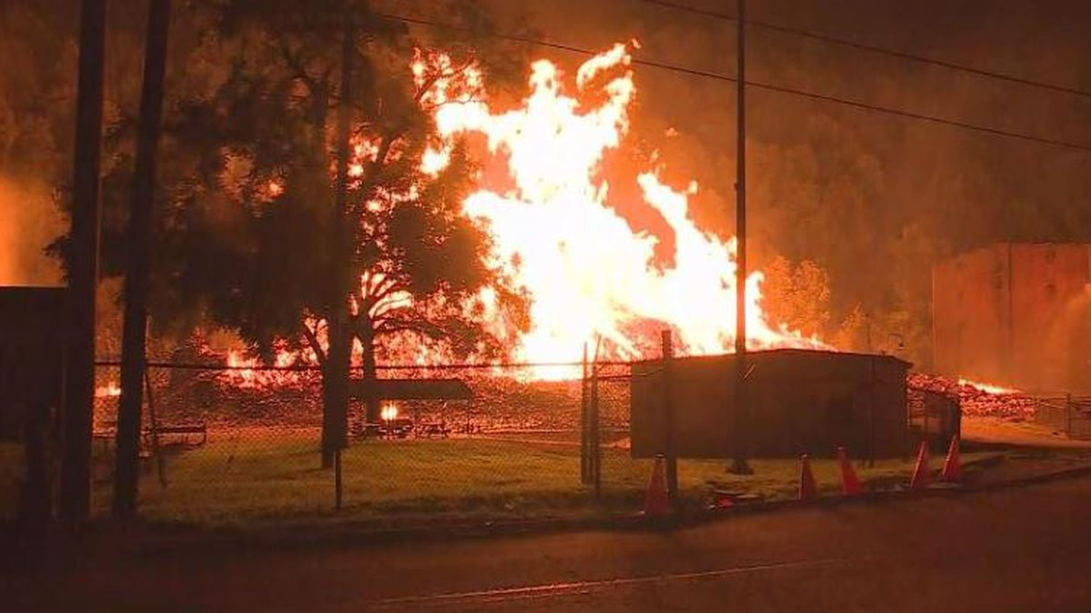 The warehouses caught on fire at the Jim Beam aging facility, located on McCracken Pike near...