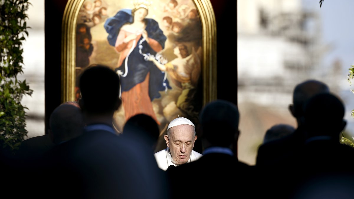Pope Francis leads the prayer to mark the end of the month of worldwide prayers to stop the...