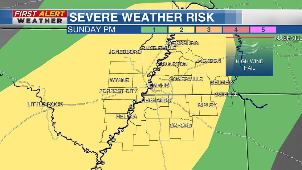 The Storm Prediction Center has outlined a SLIGHT RISK for the Mid-South