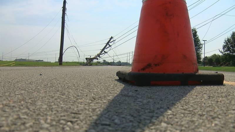 Power line down on CW Post Road in Jonesboro