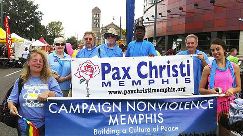 Members of Campaign Nonviolence Memphis march in a parade in 2017.