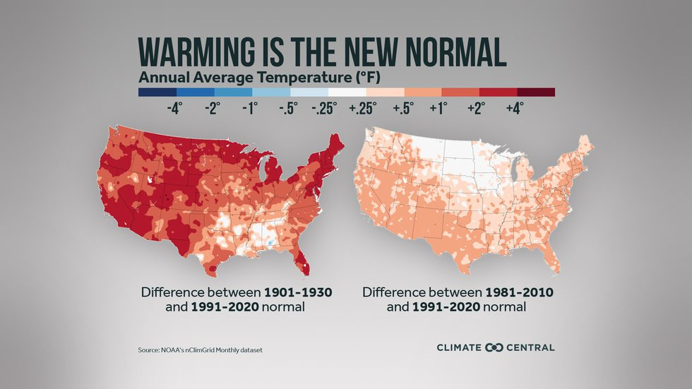 Difference between 1901 - 1930 and 1991 - 2020 normal