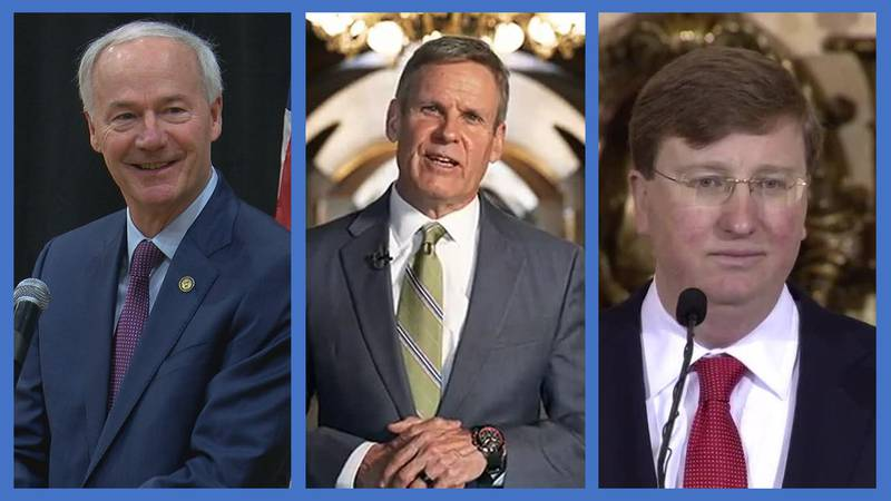 Arkansas Gov. Asa Hutchinson; Tennessee Gov. Bill Lee; and Mississippi Gov. Tate Reeves