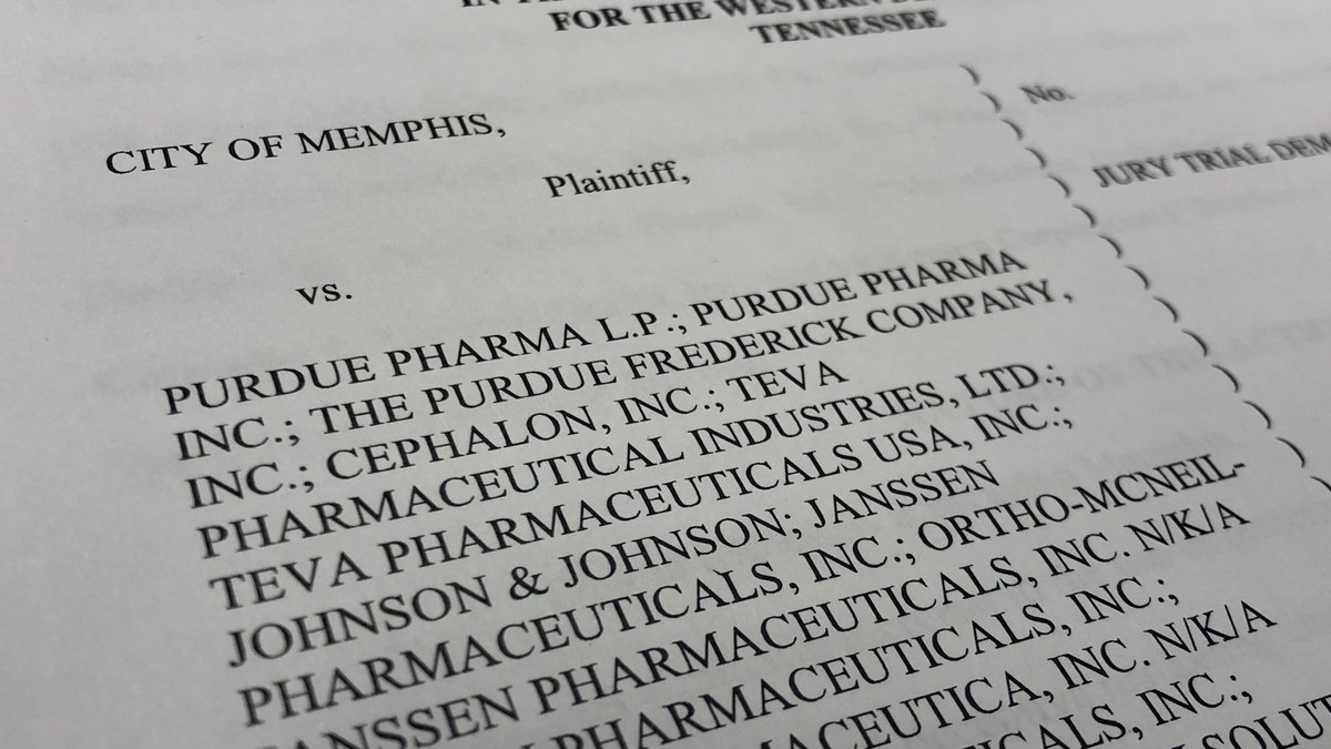 The City of Memphis has filed a federal lawsuit against a group of opioid drug manufacturers...