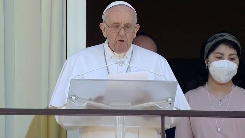 Pope Francis gives his weekly prayer from the 10th floor hospital balcony at Rome's Gemelli...