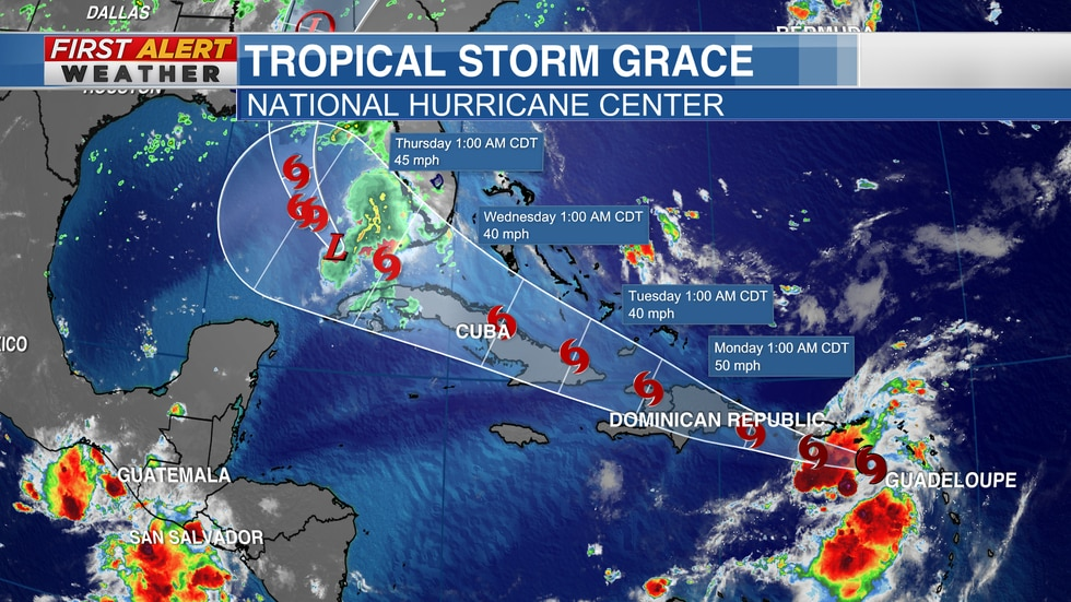 """Official Track from the NHC for """"Grace"""" as of 6 AM CT Sunday"""
