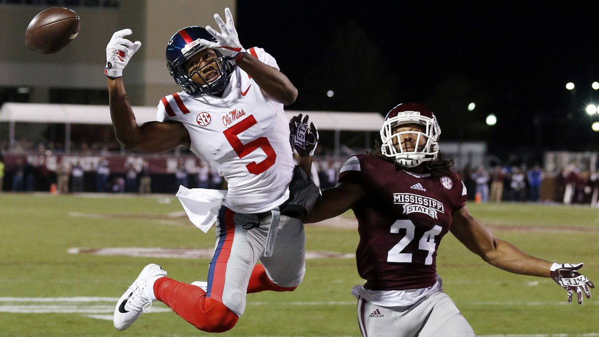 Mississippi wide receiver DaMarkus Lodge (5) cannot catch a first-half pass while Mississippi...