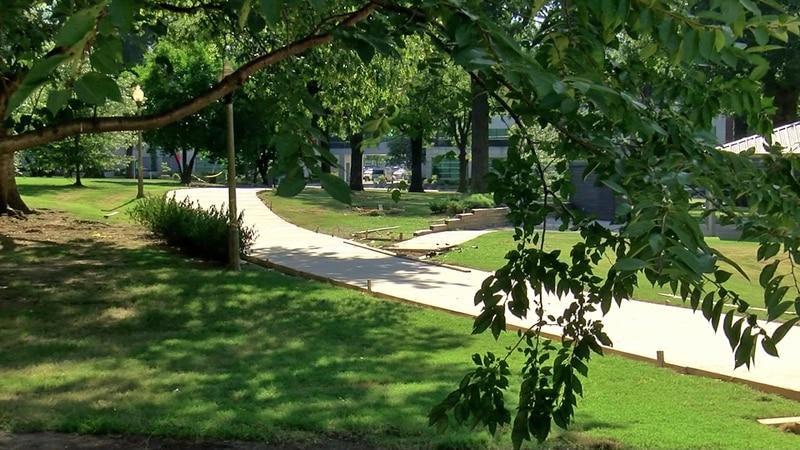 New walkways should improve drainage at Health Sciences Park.