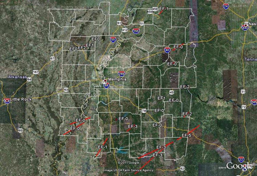 Mid-South Tornado Tracks
