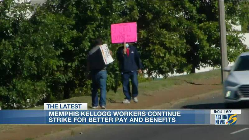 Memphis Kellogg's workers continue strike for better pay and benefits