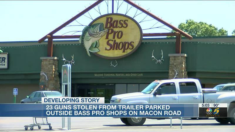 23 guns stolen from trailer parked outside bass pro shop
