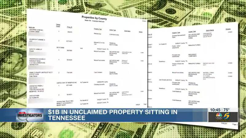 Investigators: $1B in unclaimed property sitting in Tennessee