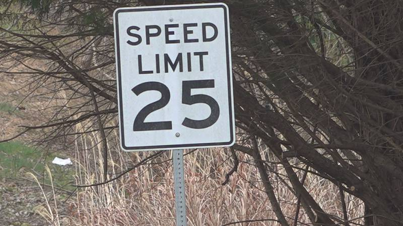 The posted speed limit is 25 MPH on Canter Drive and Meadowlark Road.