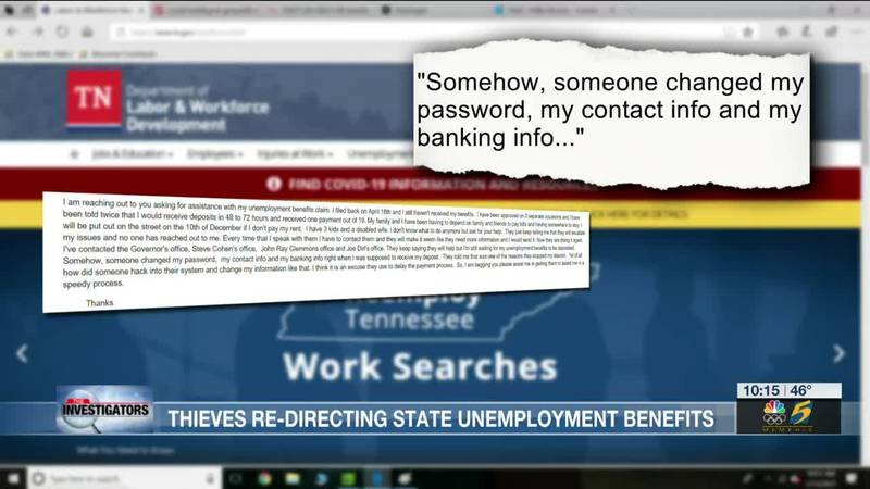Thieves redirecting state unemployment benefits