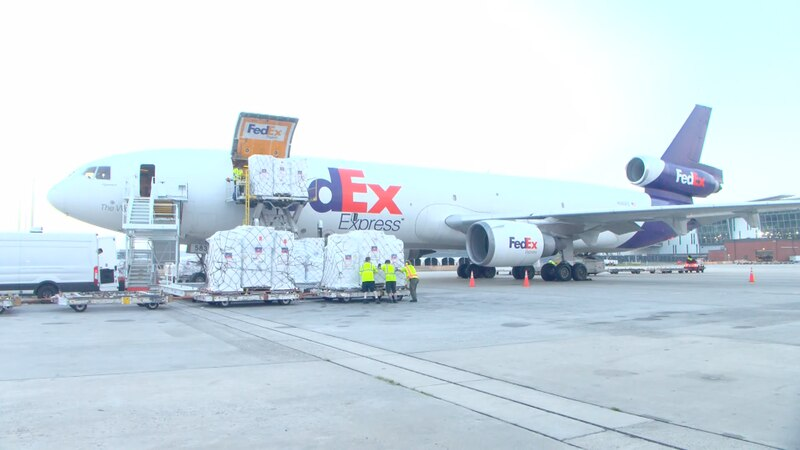 FedEx jet filled with relief supplies being sent to Haiti