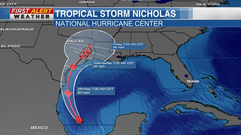 Track of Tropical Storm Nicholas from the National Hurricane Center as of 10 AM CT Sunday, Sept...