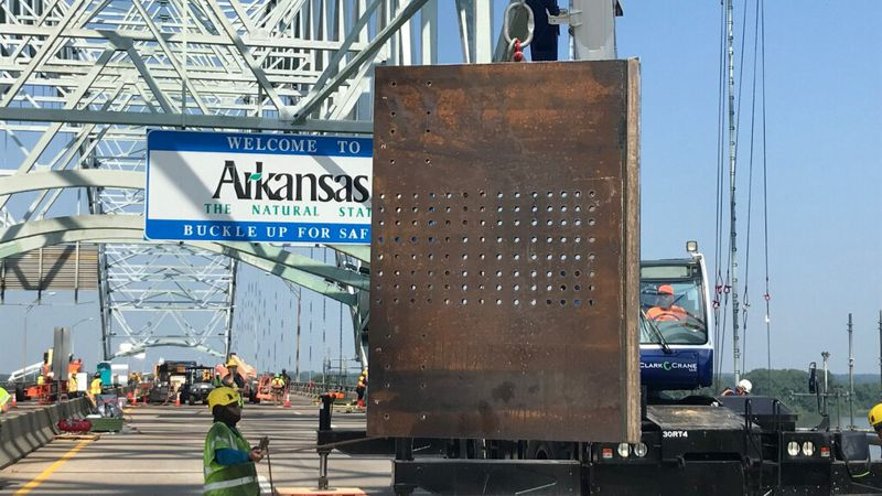 Weldment brackets to be used as temporary braces helping repair the I-40 bridge.