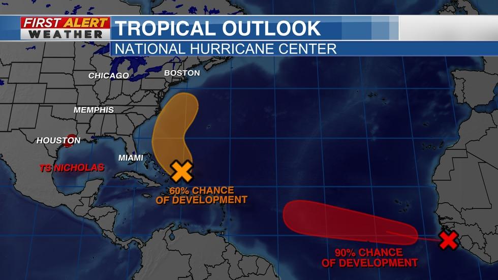 TS Nicholas and two tropical disturbances