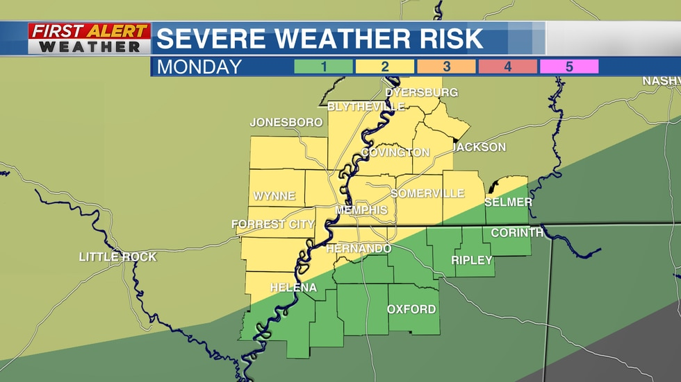 Severe Weather Risk Area for Monday from The Storm Prediction Center