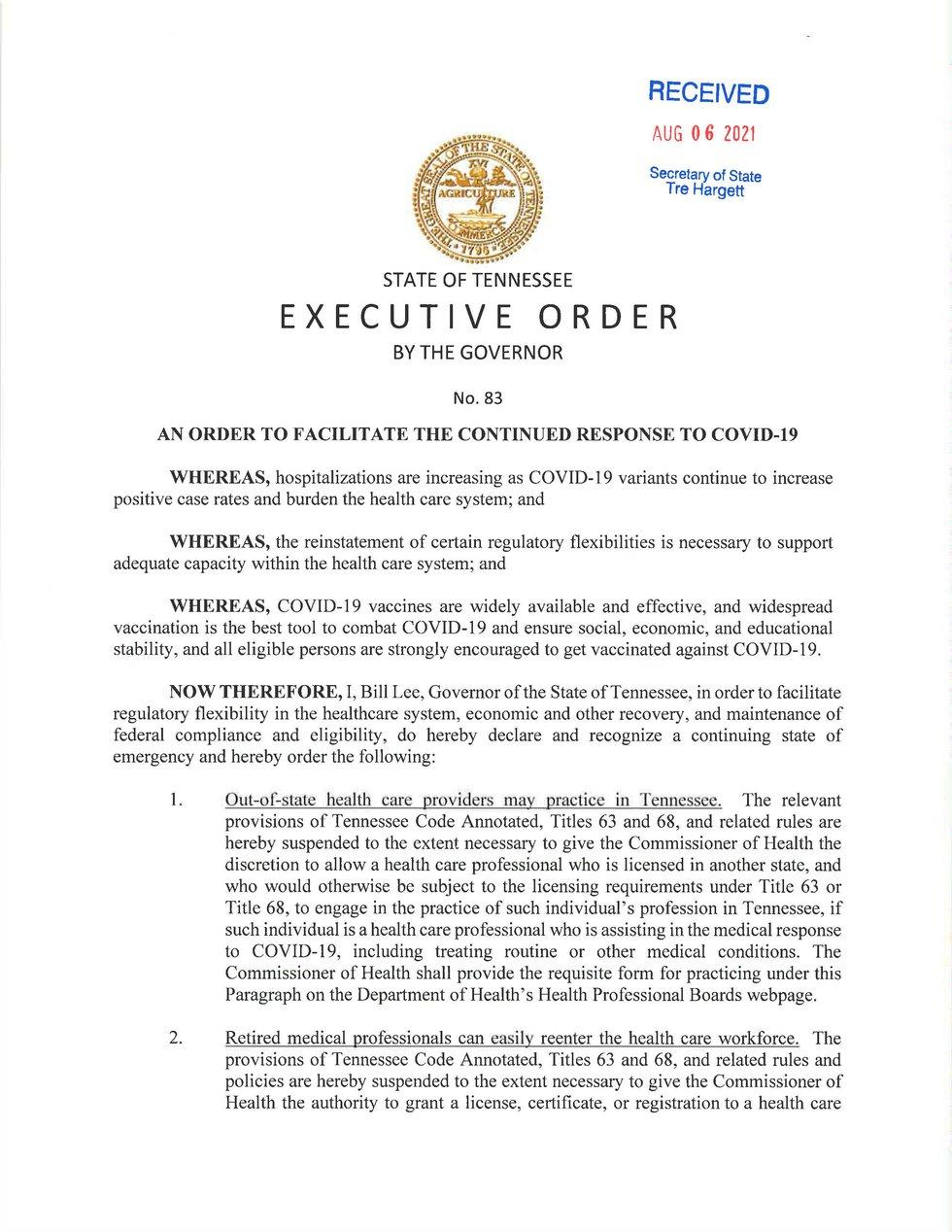 Executive Order 83