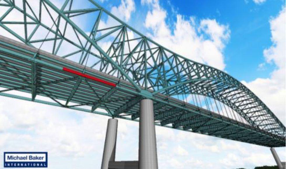 I-40 bridge rendering of Phase 1 installation