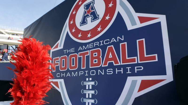 FILE - In this Dec. 5, 2015, file photo, the American Athletic Conference logo is displayed...