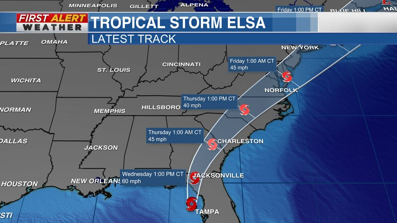 Tropical Storm Elsa will move along the east coast over the next few days