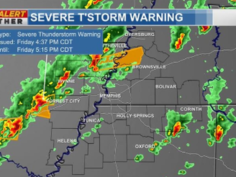 Severe thunderstorm warning in effect for parts of the Mid-South