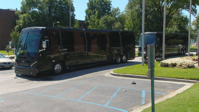 Nicholls State University football team arrives at UofM's Holiday Inn, where they will be...