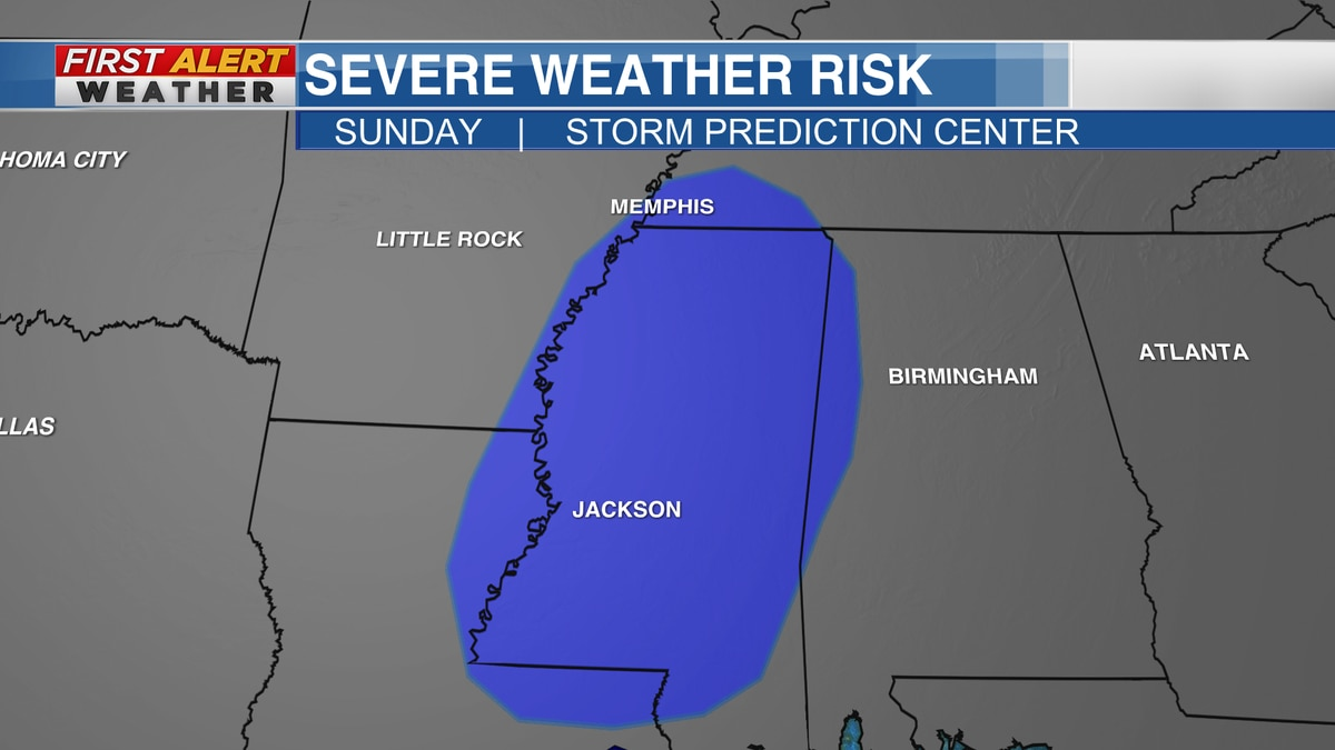 Severe Weather Risk Area for Sunday from The Storm Prediction Center