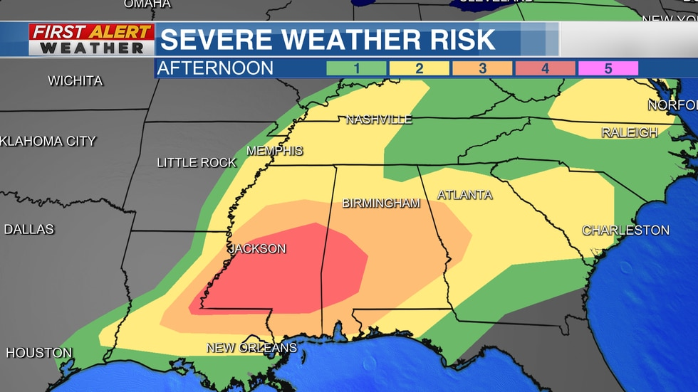 Severe Weather Risk Area from The Storm Prediction Center
