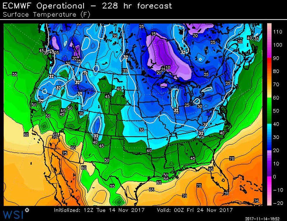 Cold temperatures will grip much of the nation for Thanksgiving