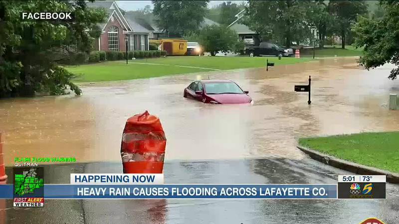 Heavy rain causes flooding across Lafayette co.