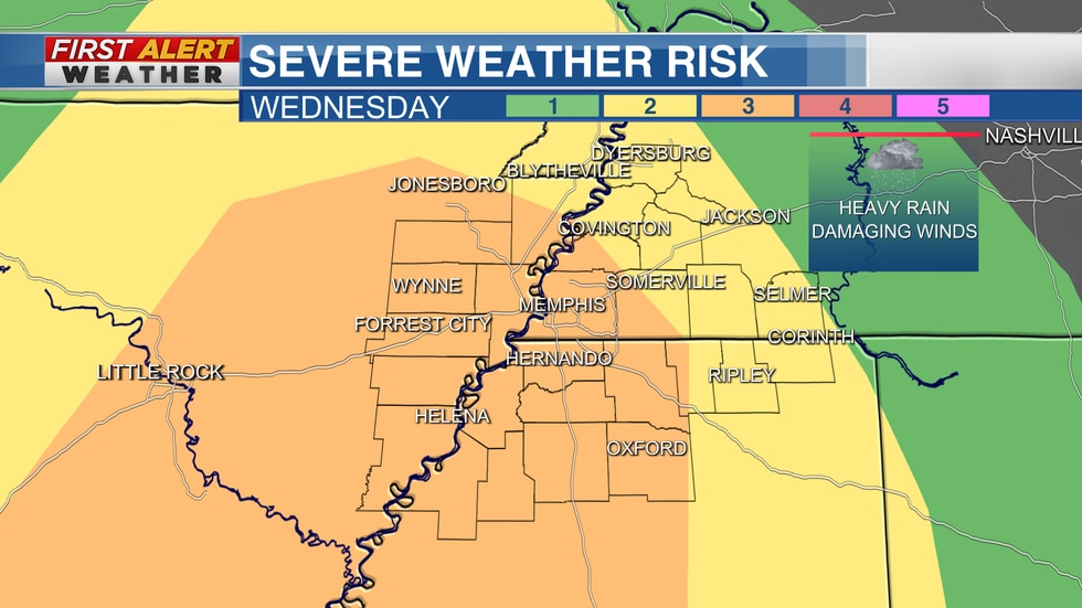 There is a 3 out of 5 risk level for most of the area on Wednesday.