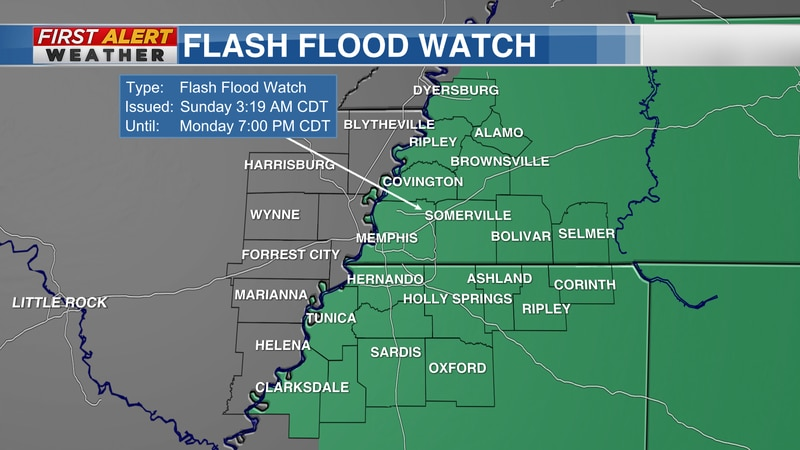 The Flash Flood Watch continues for portions of the Mid-South through Monday (Sept 20) evening.