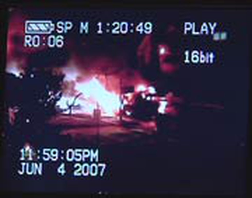 Home video shows intense flames shooting from the SUV.