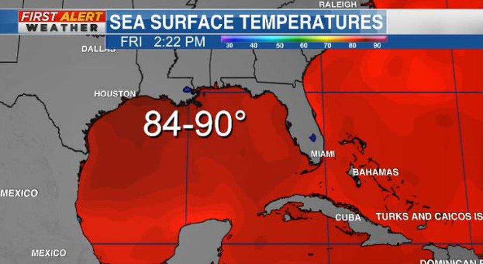 Hurricane Ida sea surface temperatures