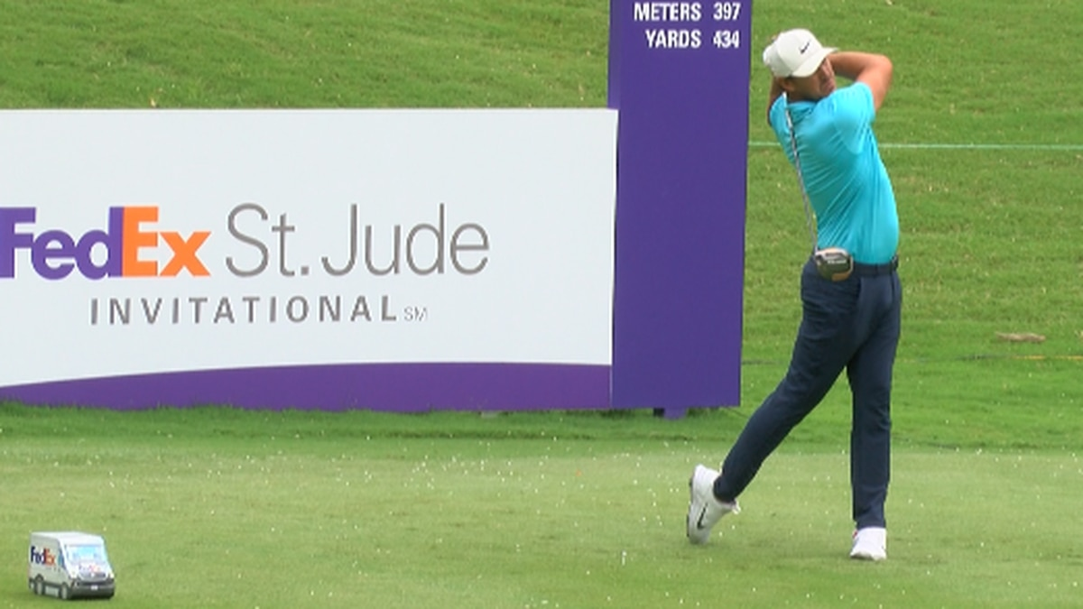 Brooks Koepka drives off the first tee at the 2020 WGC-FedEx St. Jude invitational