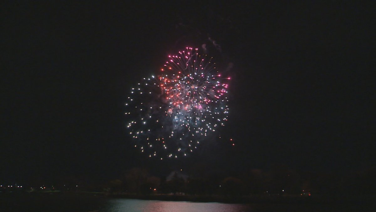 Fireworks during the annual 4th of July show in Saginaw, MI.