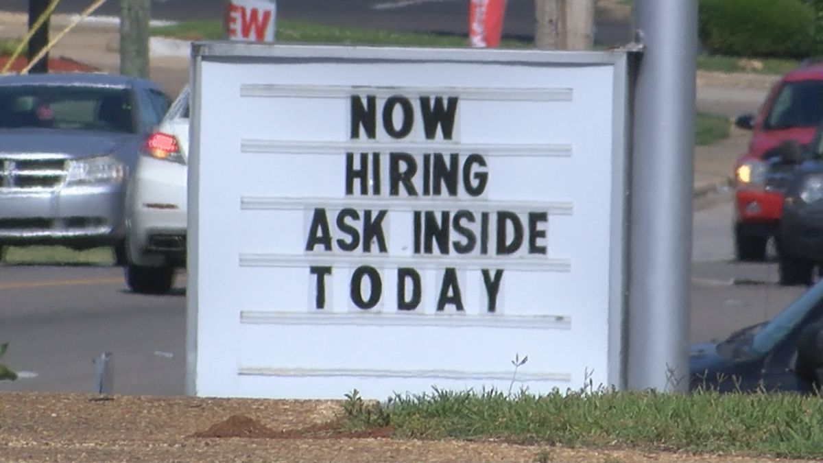 """In Montgomery, """"now hiring"""" and """"help wanted"""" signs can be found all over the city."""