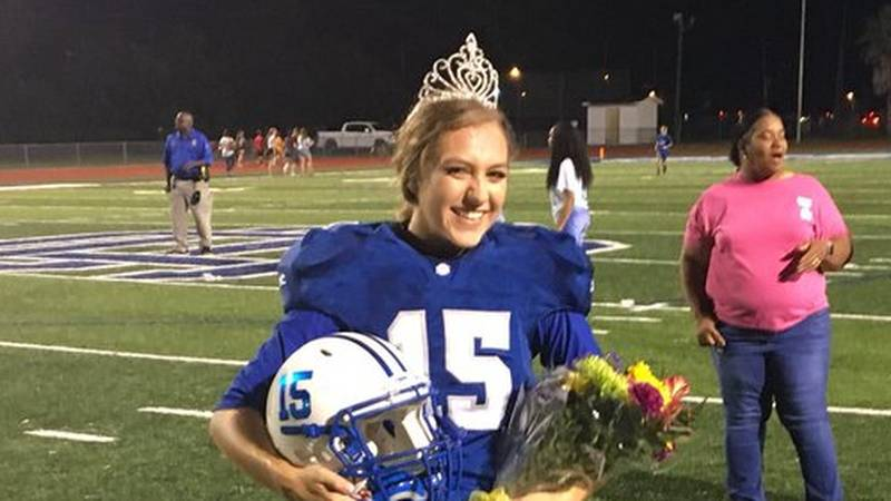 Ocean Springs High kicker Kaylee Foster was named homecoming queen during halftime. Then, she...