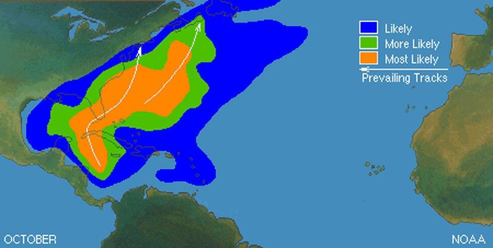 NOAA hurricane tracks for October