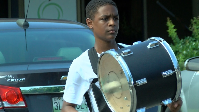 Christopher Scruggs at drumline practice with Memphis Youth Arts Initiative