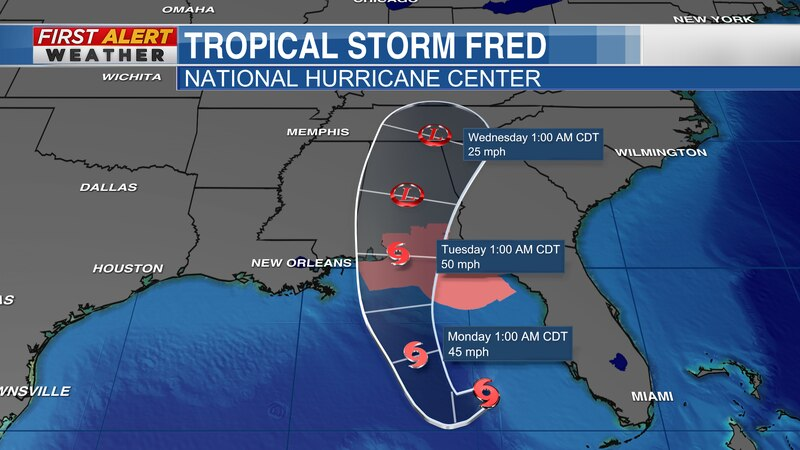 """National Hurricane Center track for """"Fred"""" as of 9 AM CT Sunday, Aug 15"""